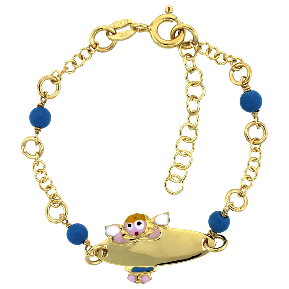 Sterling Silver Rolo Link Baby ID Bracelet in Yellow Gold Finish w/ Blue Turquoise Color Beads & Angel Charm (5-6 inch)