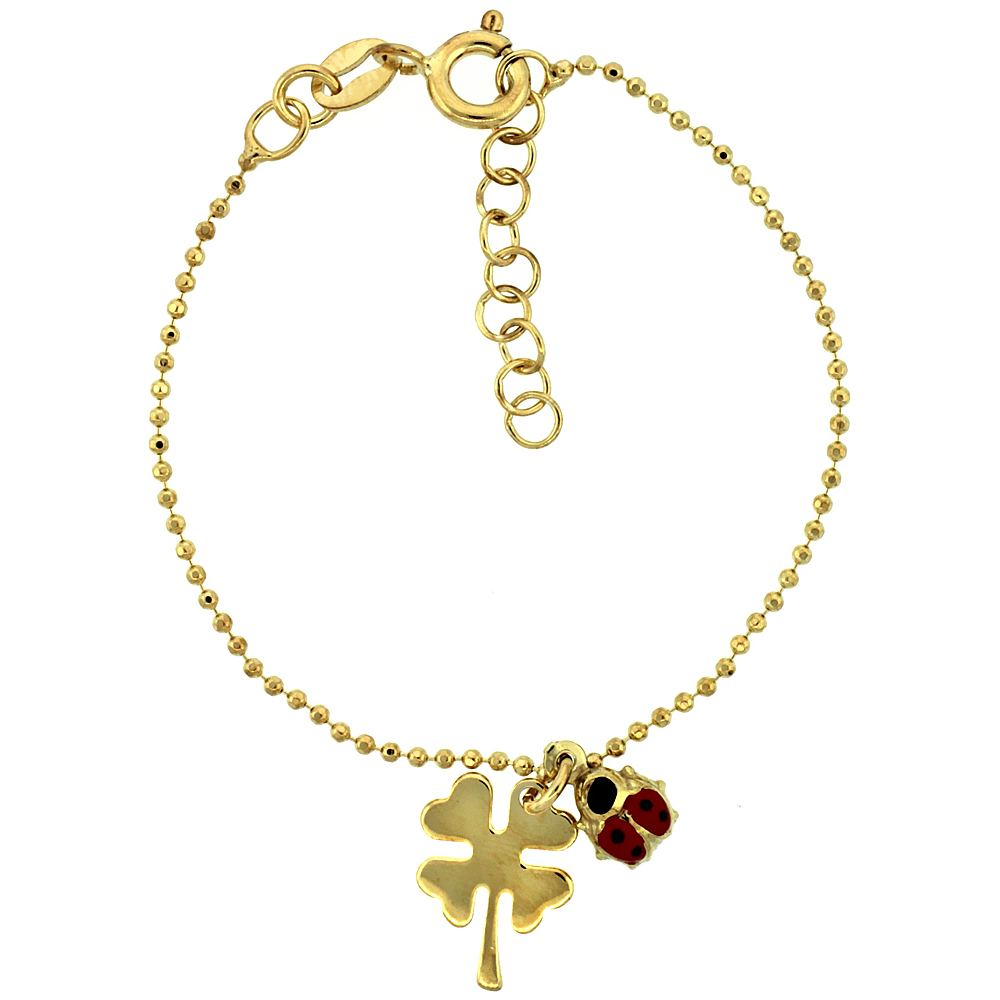 Sterling Silver Pallini Ball Bead Link Baby Bracelet in Yellow Gold Finish w/ Shamrock Clover Flower & Lady Bug Charms (5-6 inch)