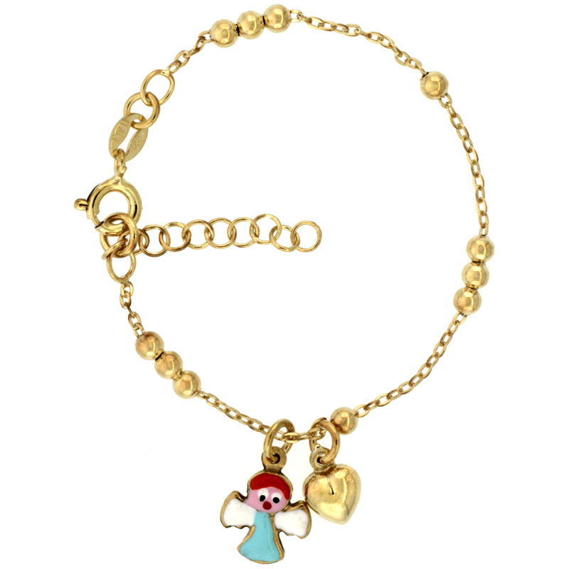 Sterling Silver Beaded Cable Link Baby Bracelet in Yellow Gold Finish w/ Heart & Angel Charms (5-6 inch)