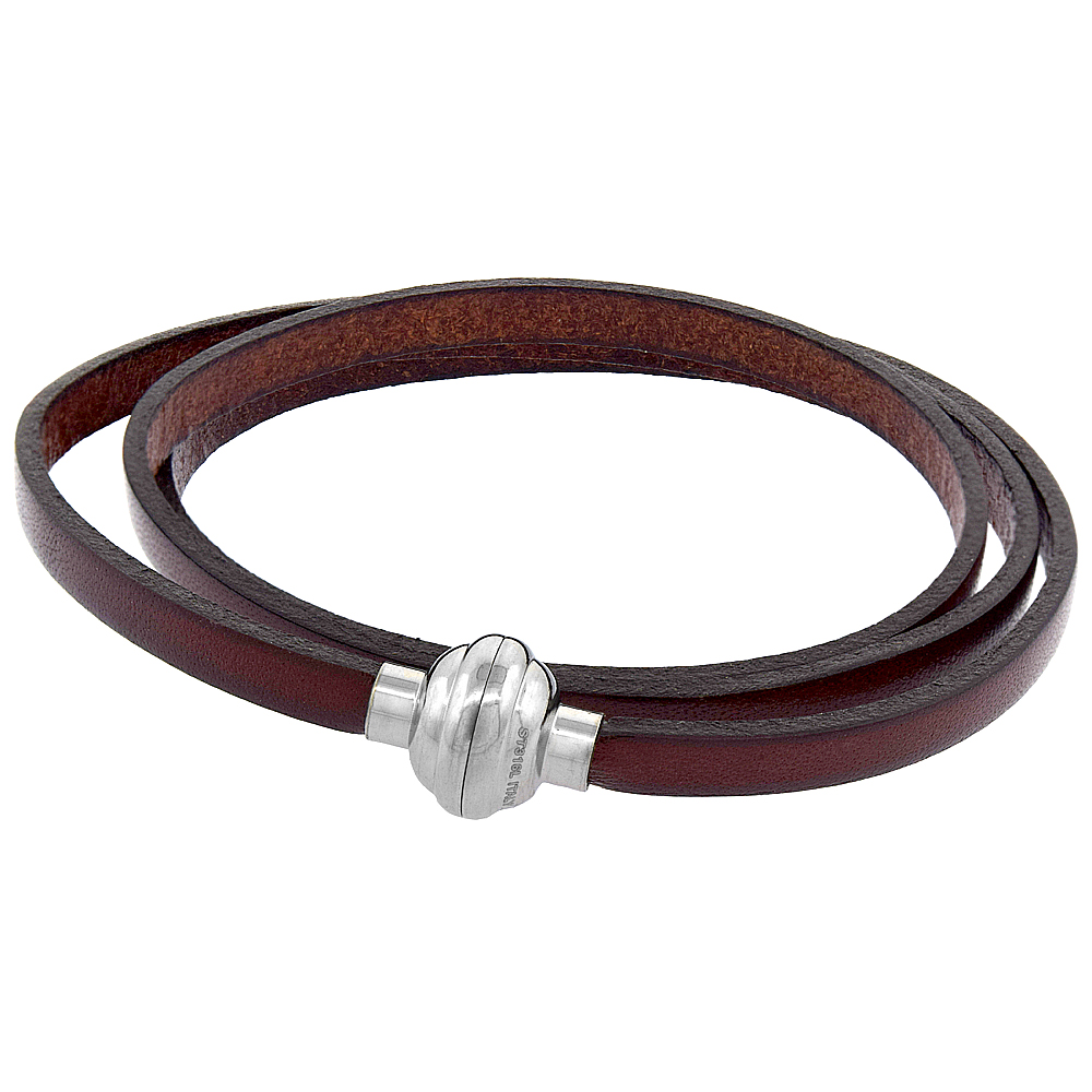 Brown Leather Wrap Bracelet Stainless Steel Magnetic Clasp Italy 22.5 inch