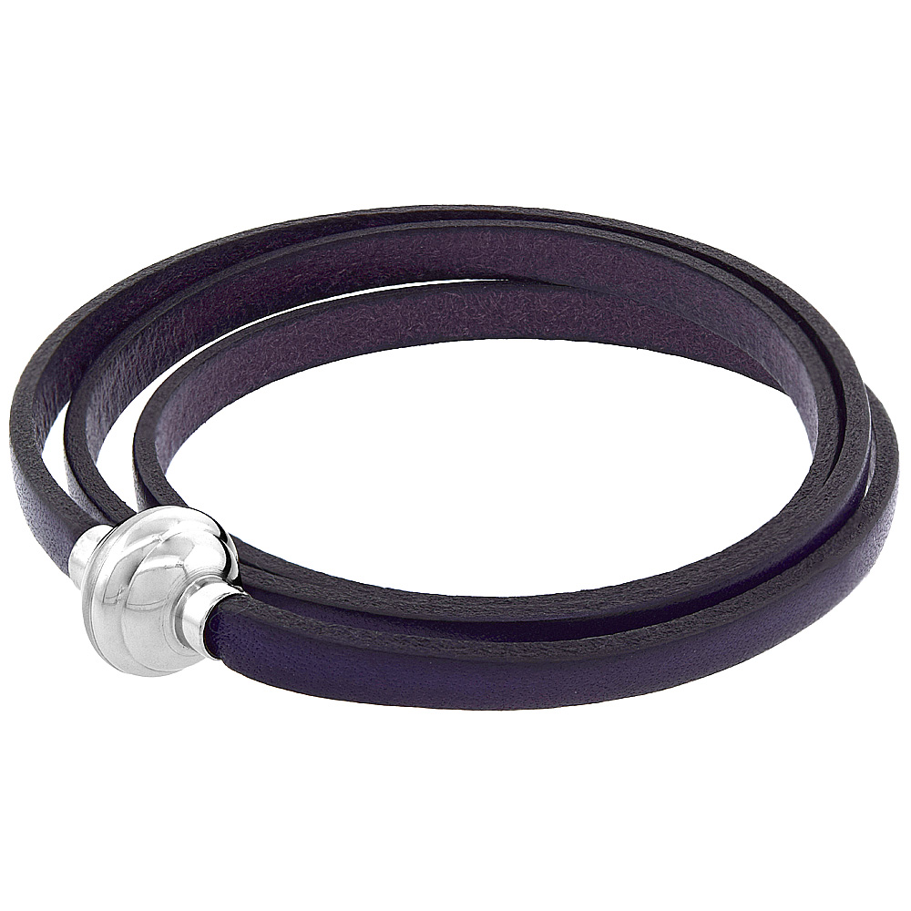 Deep Purple Leather Wrap Bracelet color Stainless Steel Magnetic Clasp Italy 22.5 inch