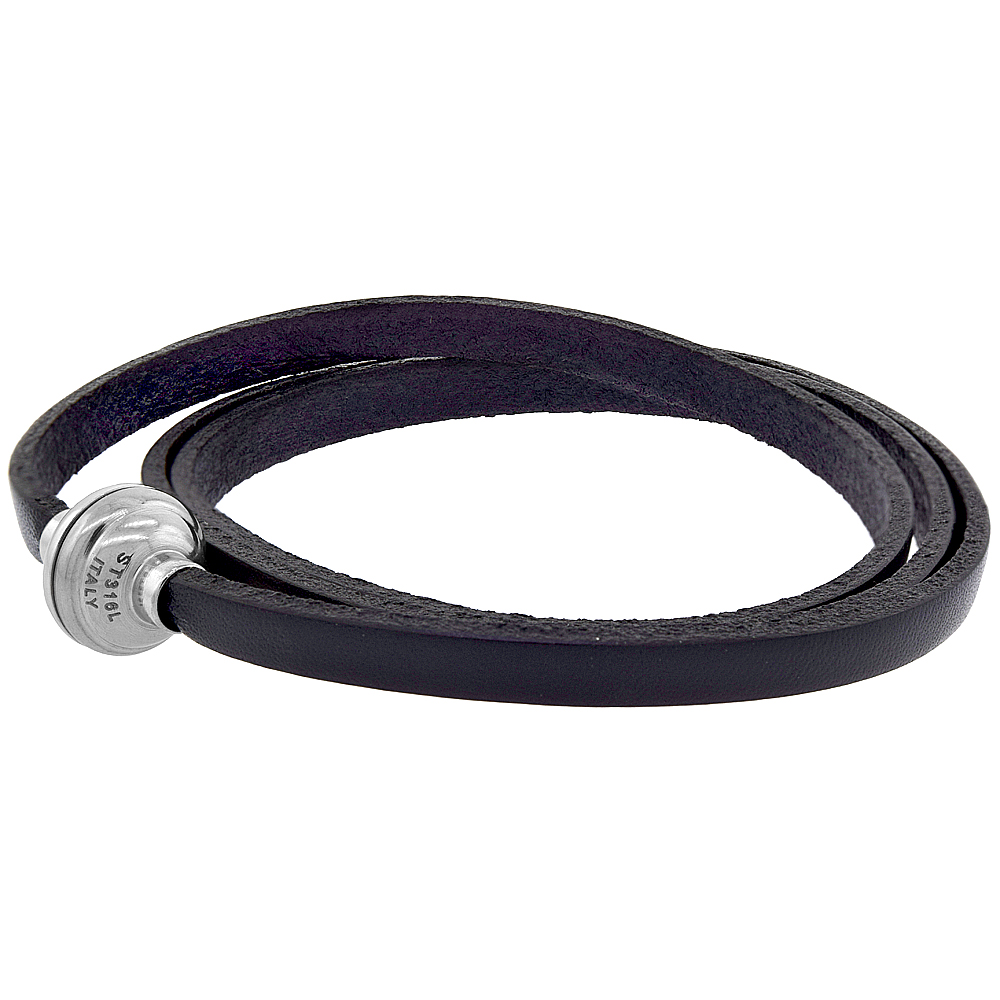 Black Leather Wrap Bracelet Stainless Steel Magnetic Clasp Italy 22.5 inch