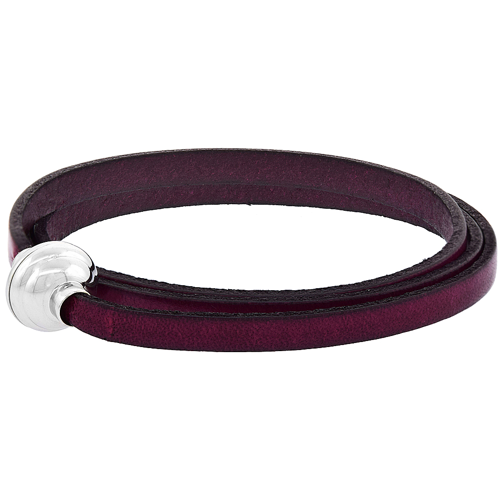 Fuchsia Leather Wrap Bracelet Stainless Steel Magnetic Clasp Italy 22.5 inch