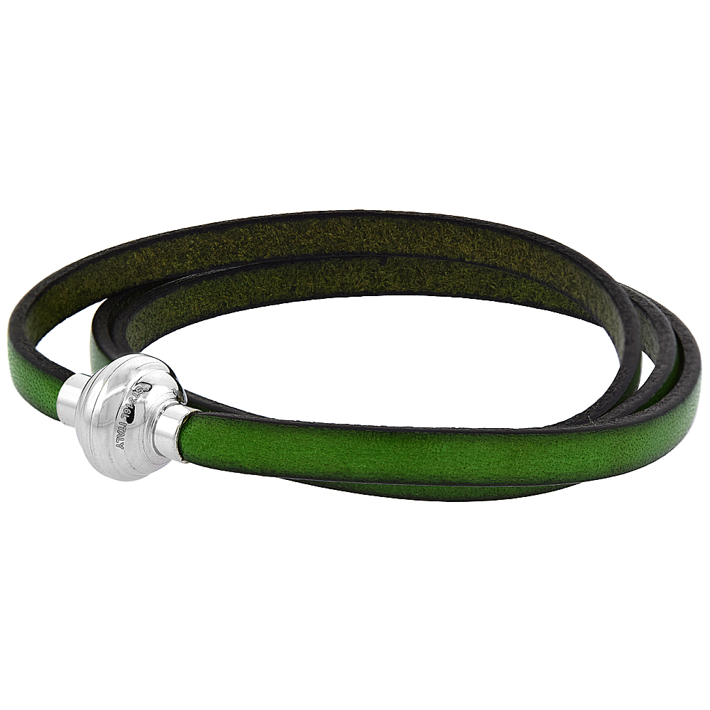 Green Leather Wrap Bracelet Stainless Steel Magnetic Clasp Italy 22.5 inch