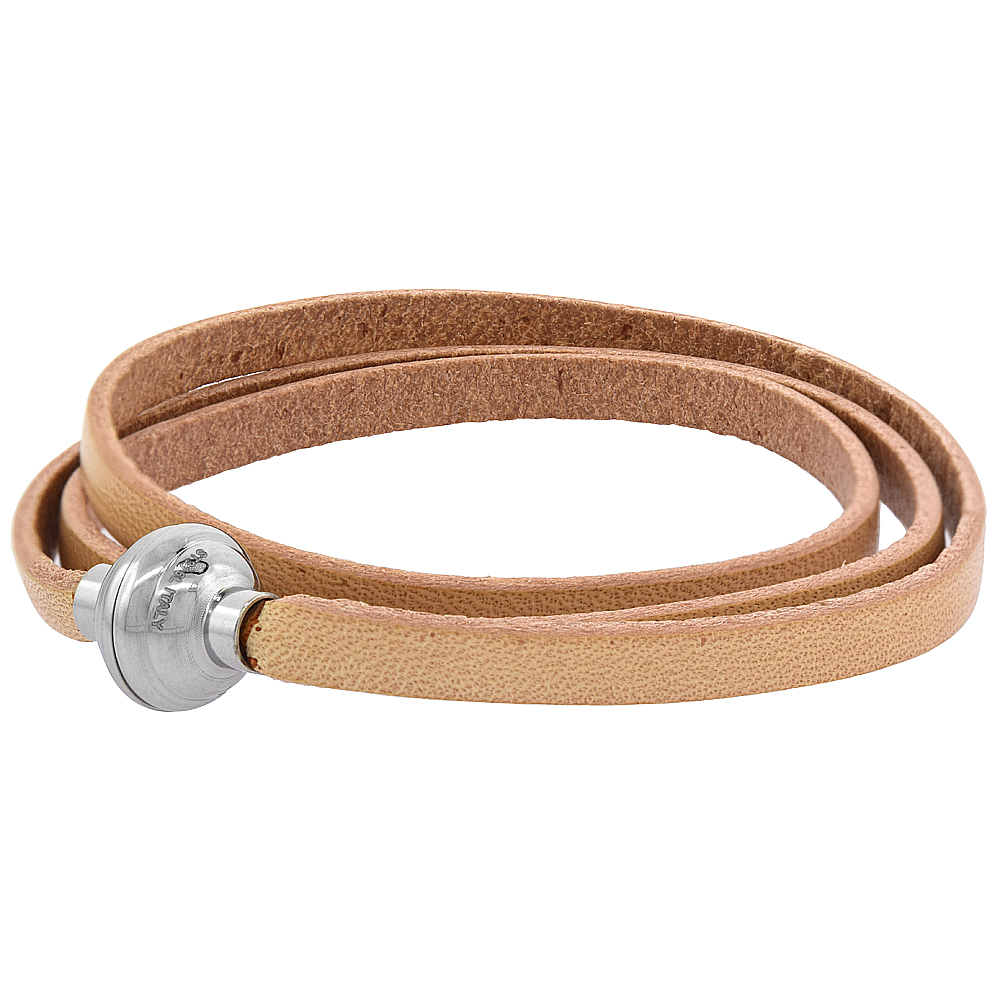 Quality Full Grain Tan Leather Wrap Bracelet Stainless Steel Magnetic Clasp Italy 22.5 inch