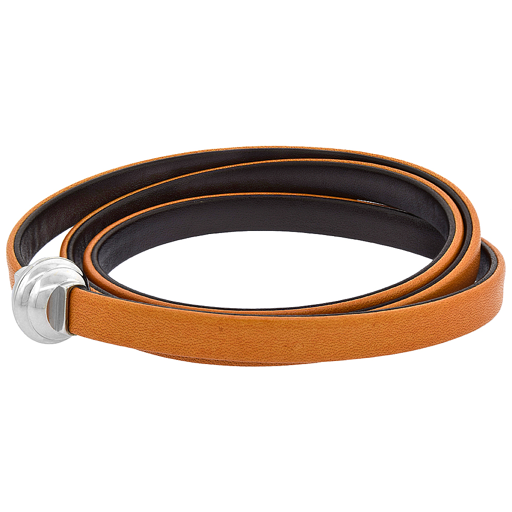 Tan & Brown Leather Wrap Bracelet Double Sided Stainless Steel Magnetic Clasp Italy 22.5 inch