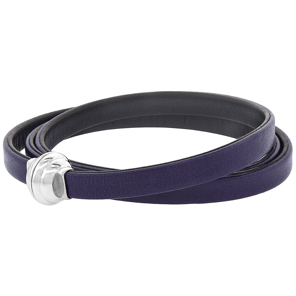 Quality Full Grain Purple & Black Leather Wrap Bracelet Double Sided Magnetic Clasp Italy 22.5 inch