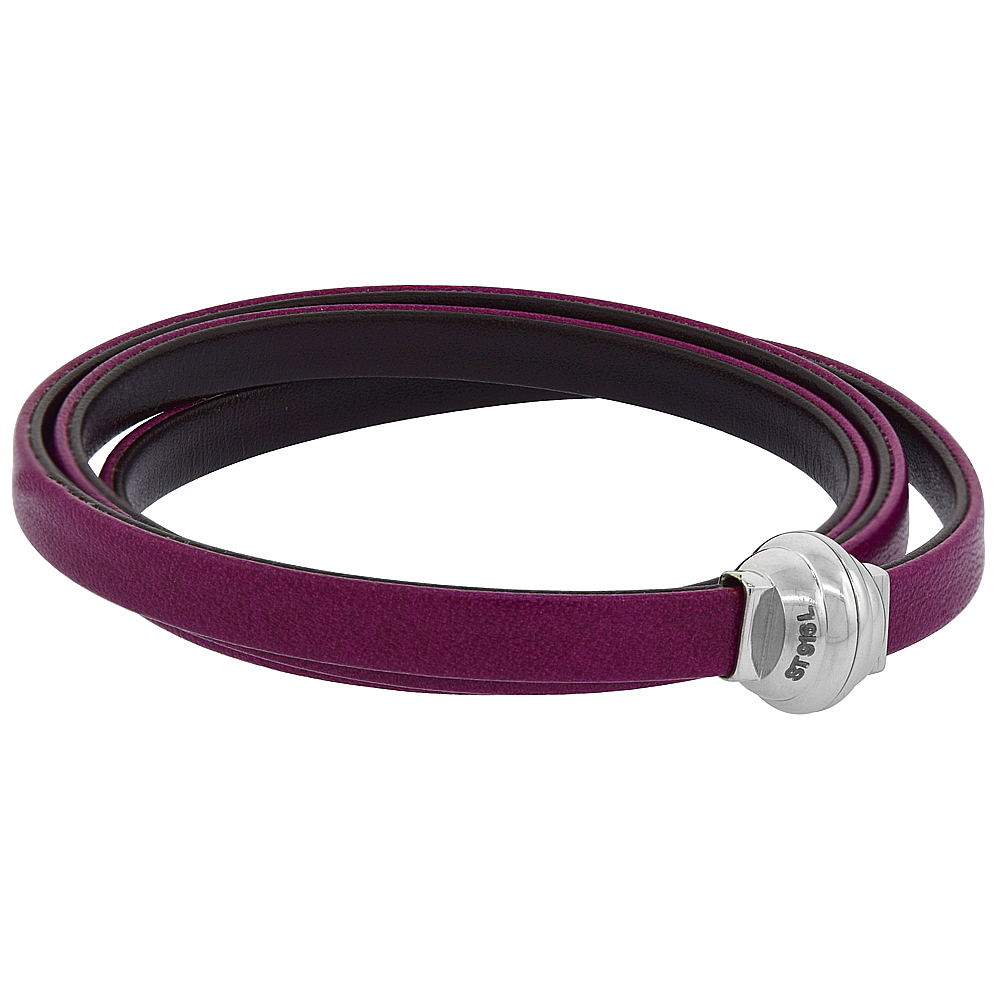 Fuchsia & Brown Learther Wrap Bracelet Double Sided Stainless Steel Magnetic Clasp Italy 22.5 inch