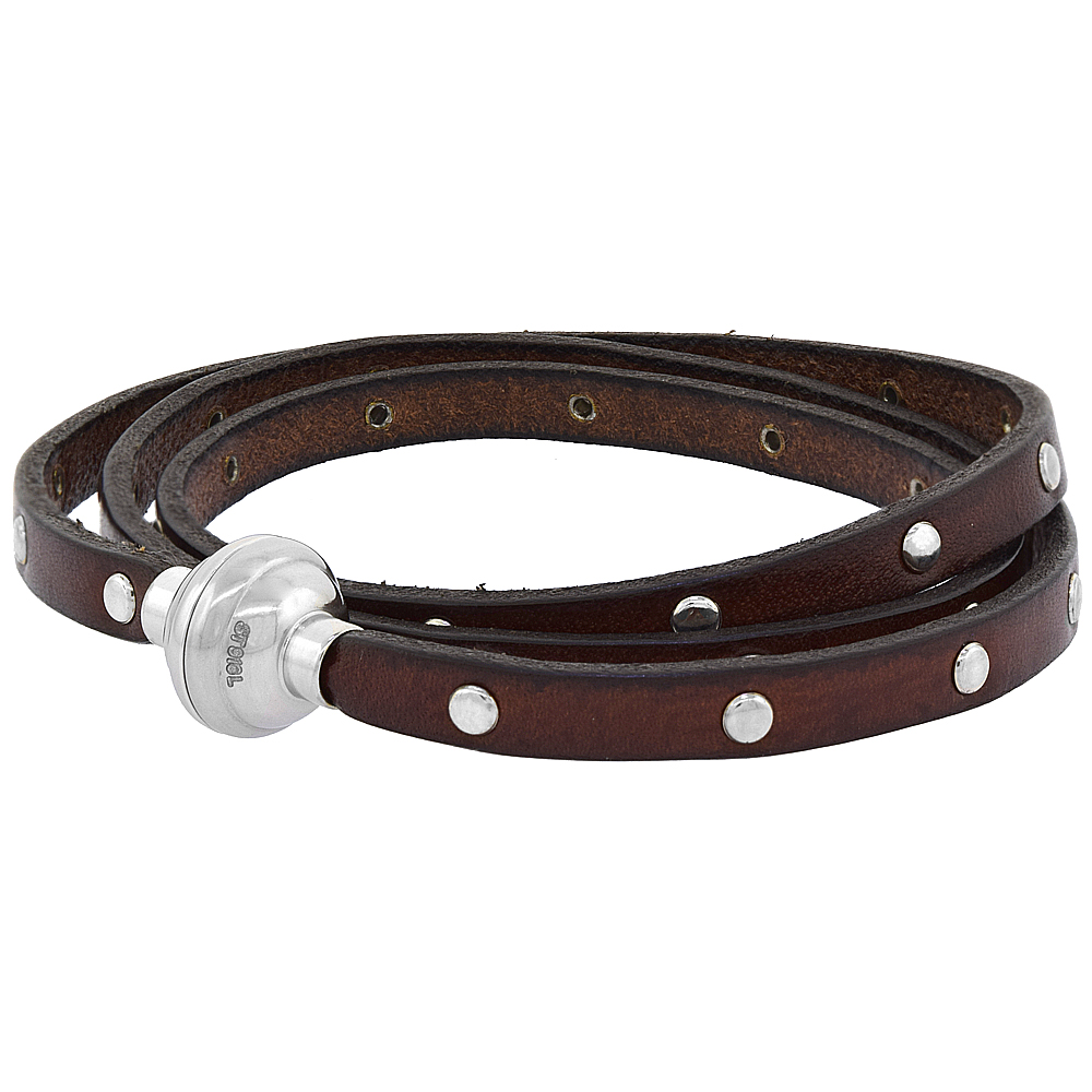 Brown Studded Leather Wrap Bracelet Stainless Steel Magnetic Clasp Italy 22.5 inch