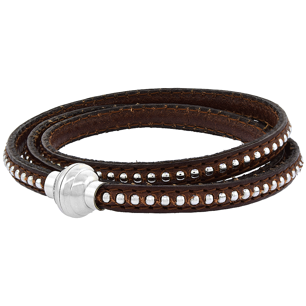Brown Leather Wrap Bracelet Bead Inlay Stainless Steel Magnetic Clasp Italy 22.5 inch