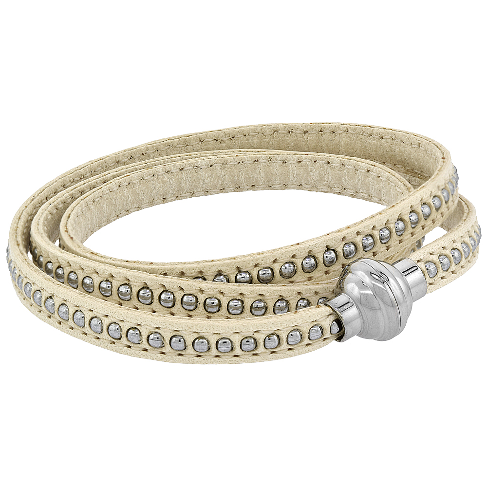 White Leather Bracelet for women Bead Inlay 3 Wrap Surgical Steel Neodymium Magnetic Clasp Italy