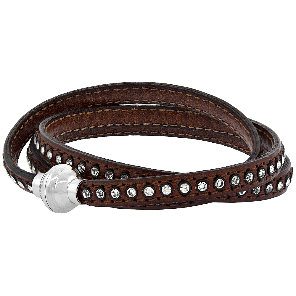 Brown Leather Wrap Bracelet Swarovski Crystal Studded Stainless Steel Magnetic Clasp Italy 22.5 inch