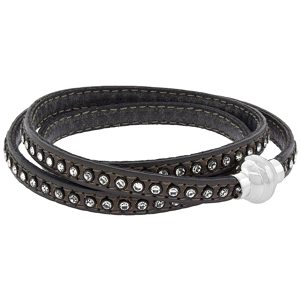 Gray Leather Wrap Bracelet Swarovski Crystal Studded Stainless Steel Magnetic Clasp Italy 22.5 inch
