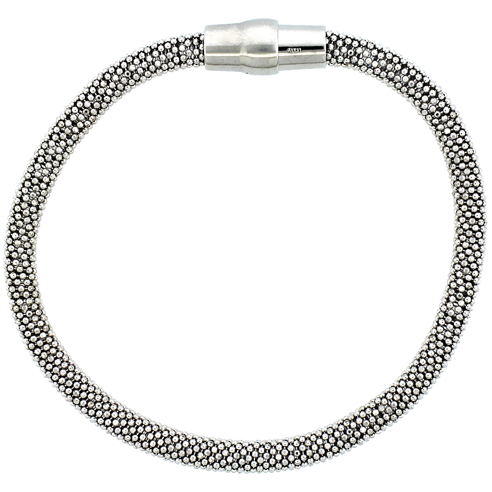 Sterling Silver Flexible Beaded Bangle Bracelet Magnetic Clasp Rhodium Finish, 3/16 inch wide