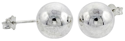 Sterling Silver 10 mm Ball Stud Earrings Large (3/8 inch).