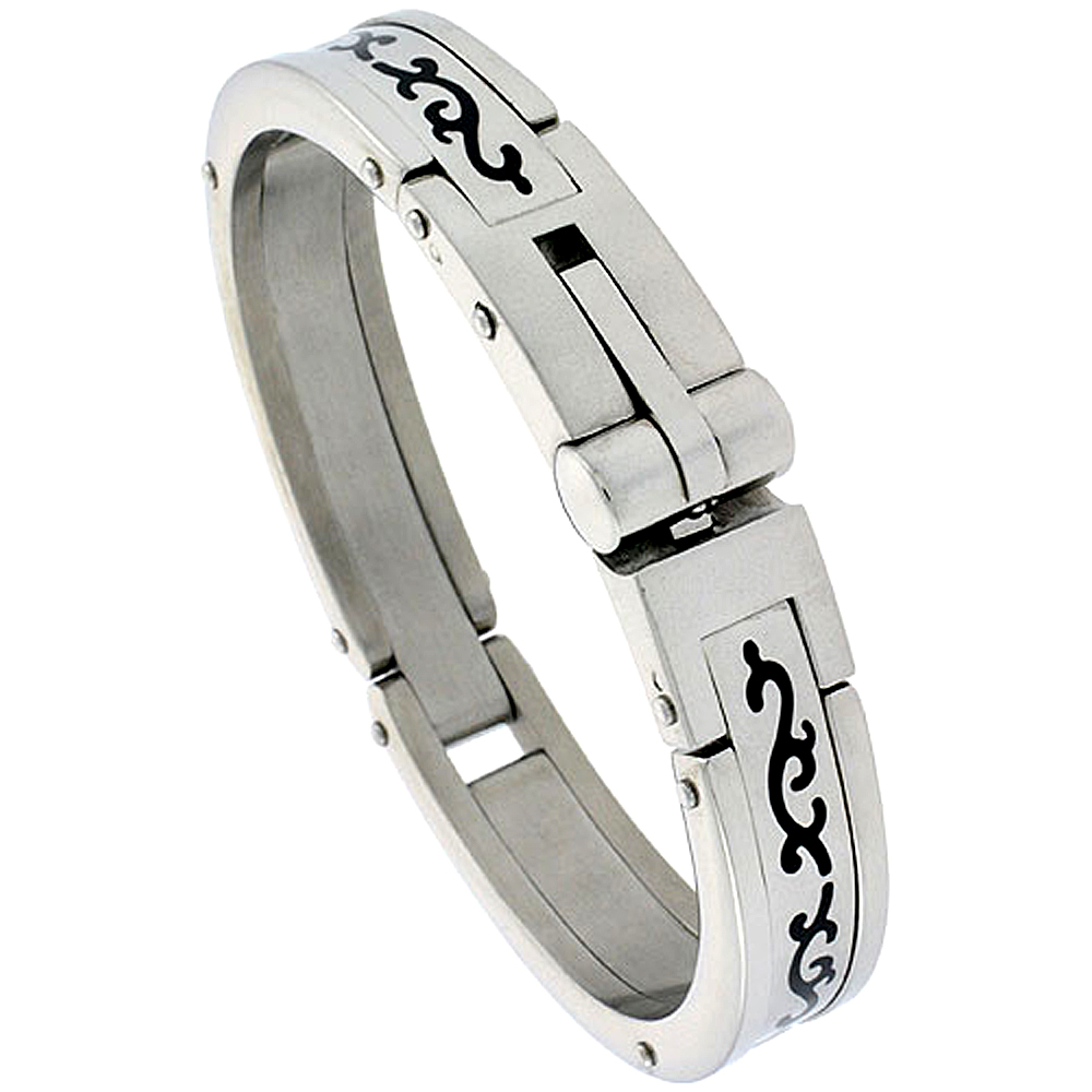 Stainless Steel Bangle Bracelet For Men, w/ Enamel Tribal Pattern 5/8 inch wide,