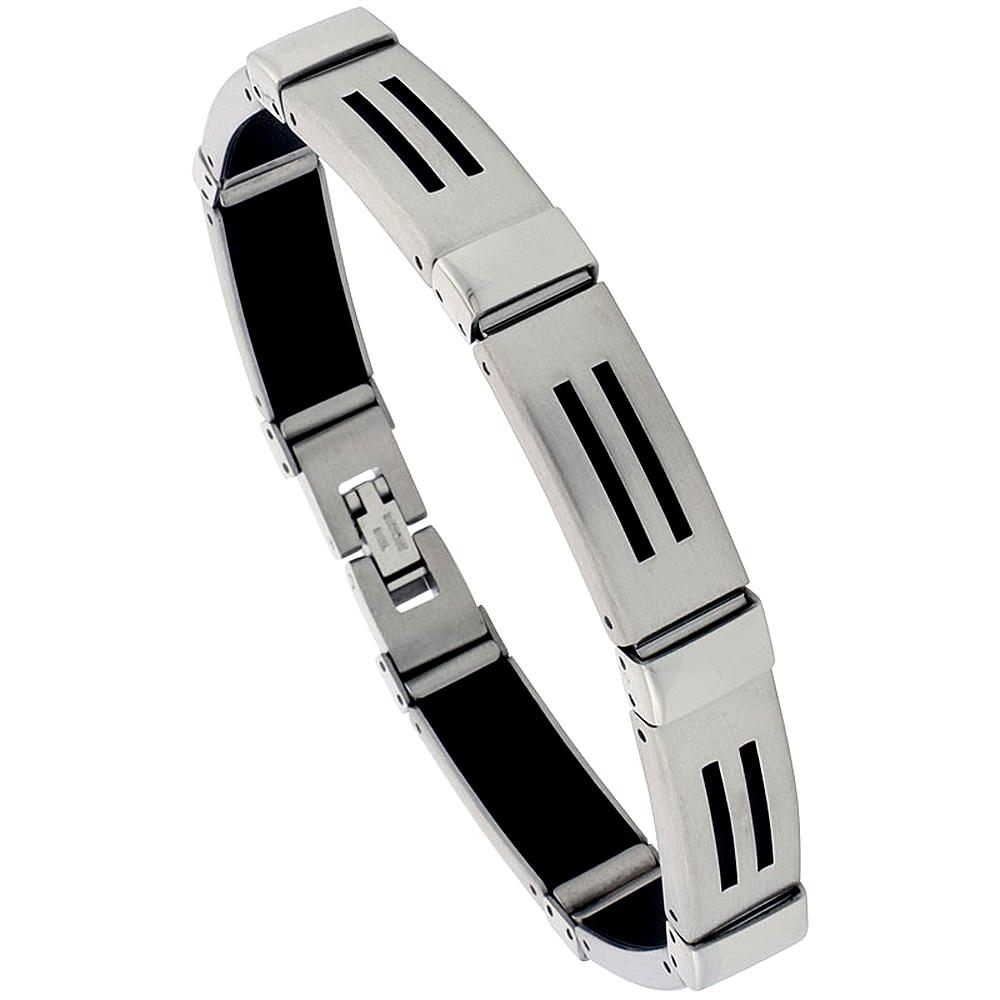 Stainless Steel Bracelet For Men Black Rubber Accent, 8 inch