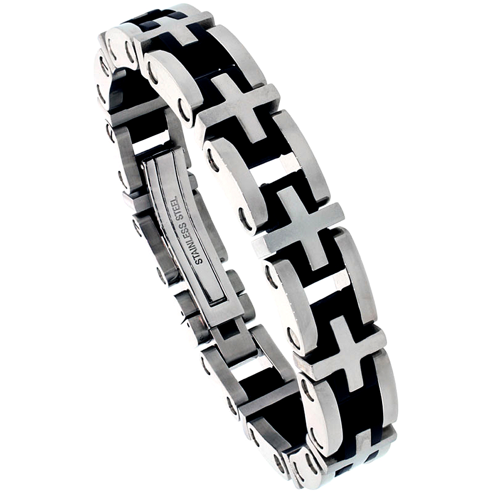 Stainless Steel Cross Link Bracelet For Men Black Rubber Accent, 1/2 inch wide, 8 1/2 inch long
