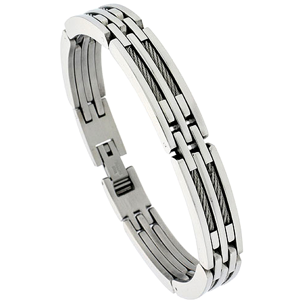 Stainless Steel Cable Bracelet For Men, 3/8 inch wide, 8 1/2 inch long