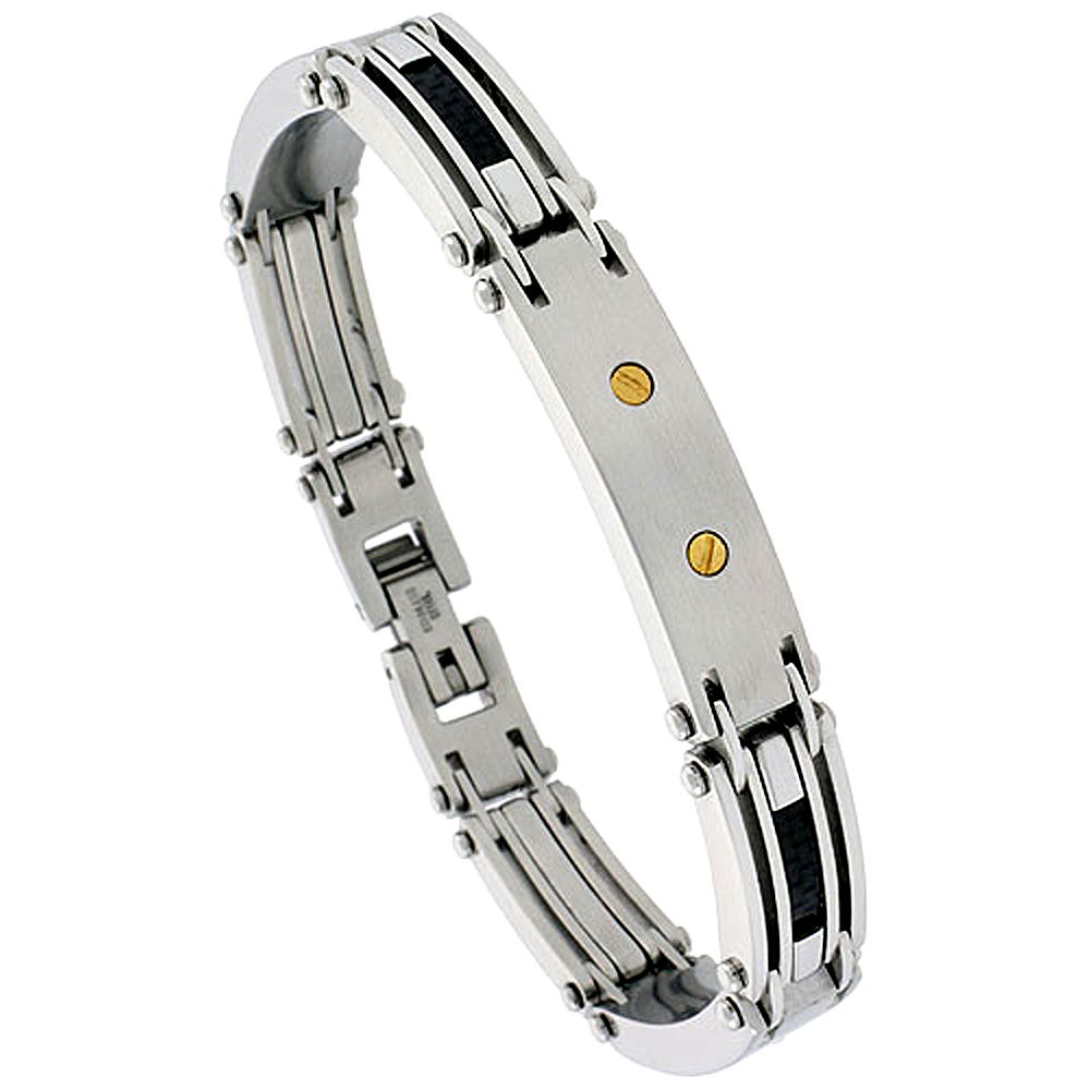 Stainless Steel ID Bracelet For Men Black Carbon Fiber gold plated screw heads, 3/8 inch wide, 9 inch long