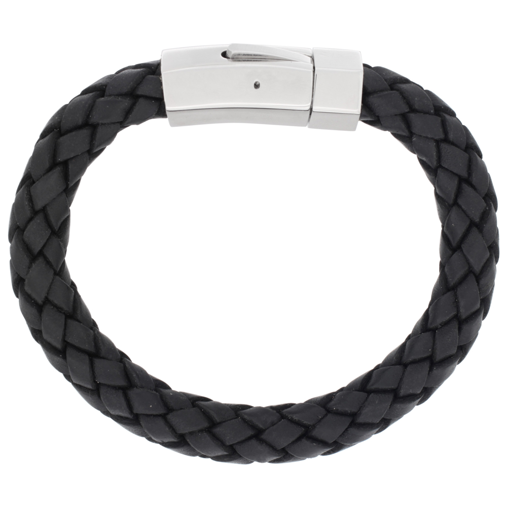Black Braided Leather Bracelet For Men Stainless Steel Clasp 3/8 inch wide, sizes 7.5 - 9 inch