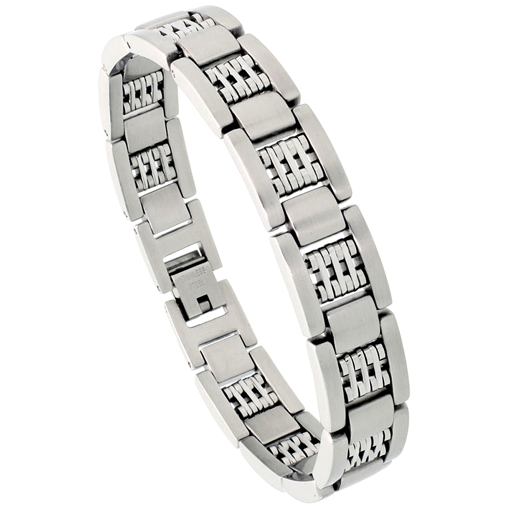Stainless Steel Bar Bracelet For Men Satin Finish 1/2 inch wide, 8 inch long