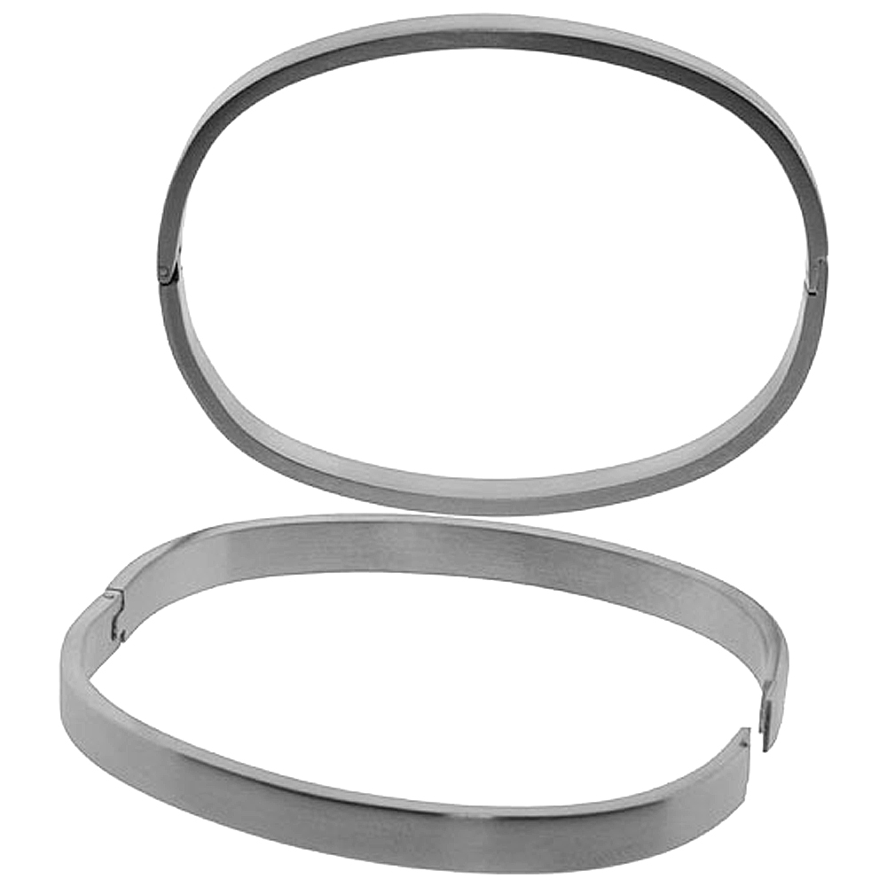 Stainless Steel Oval Bangle Bracelet For Men & Women, 8 inch