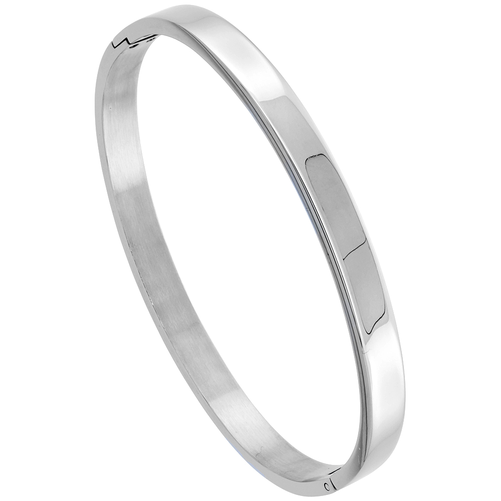 Stainless Steel Oval Bangle Bracelet for Women, 7 inch