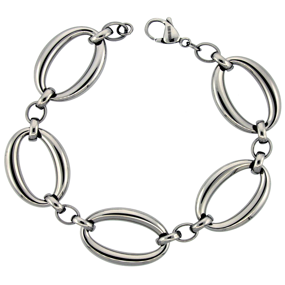 Stainless Steel Bracelet for Women Large Oval Links 3/4 inch wide, 8.5 inch long