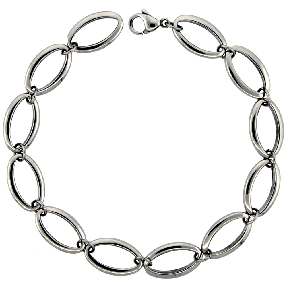 Stainless Steel Bracelet for Women Small Oval Links 3/4 inch wide, 8.5 inch long