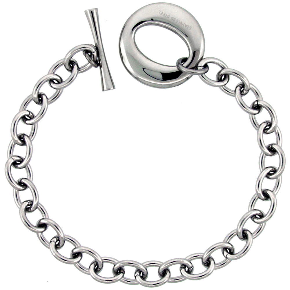 "Stainless Steel Cable Chain Bracelet for Men Large ""O"" Toggle Clasp 7/8 inch wide, 8.25 inch ling"