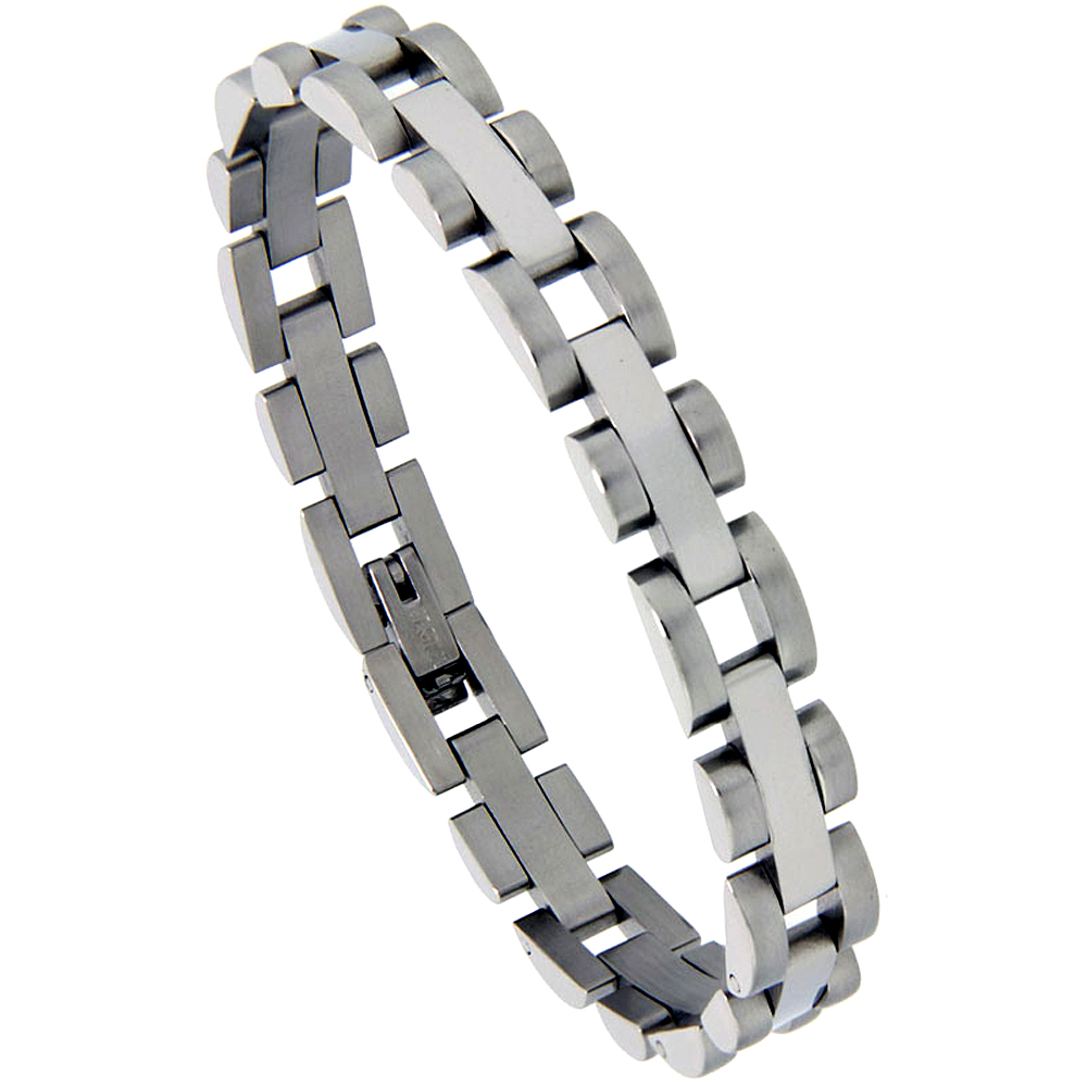 Stainless Steel Bracelet For Men Satin Finished, 5/16 inch wide, 7.5 inch long