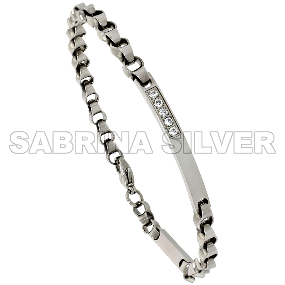 Stainless Steel Cubic Zirconia ID Bracelet for Women & Men 3/16 inch wide, 8.5 inch removable links