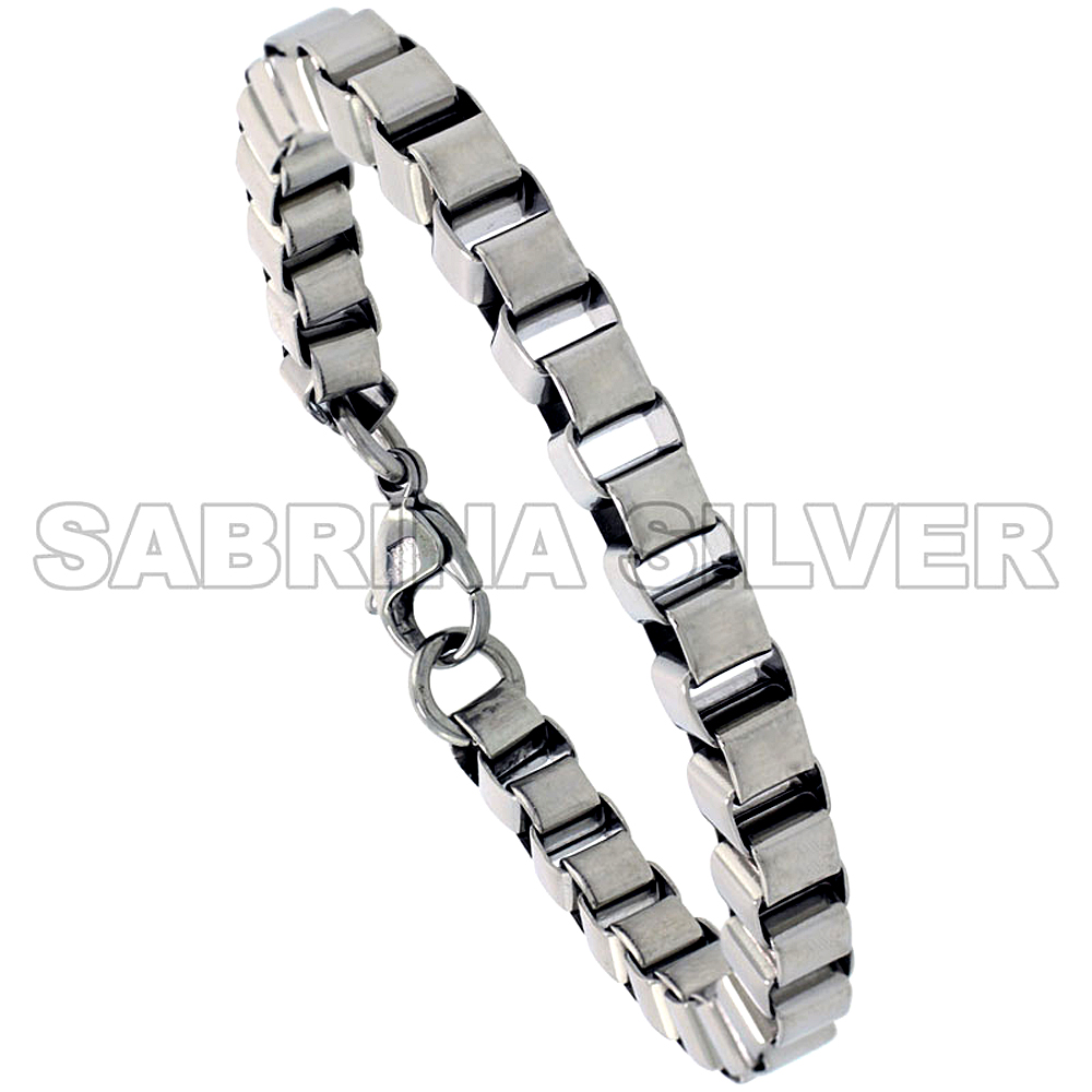 Stainless Steel Box Link Bracelet for Women 1/4 inch wide, 7 inch