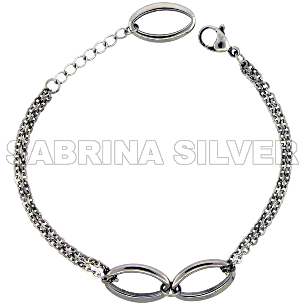 Stainless Steel Bracelet for Women Oval Center Links 3/8 inch wide, 7.5 inch long