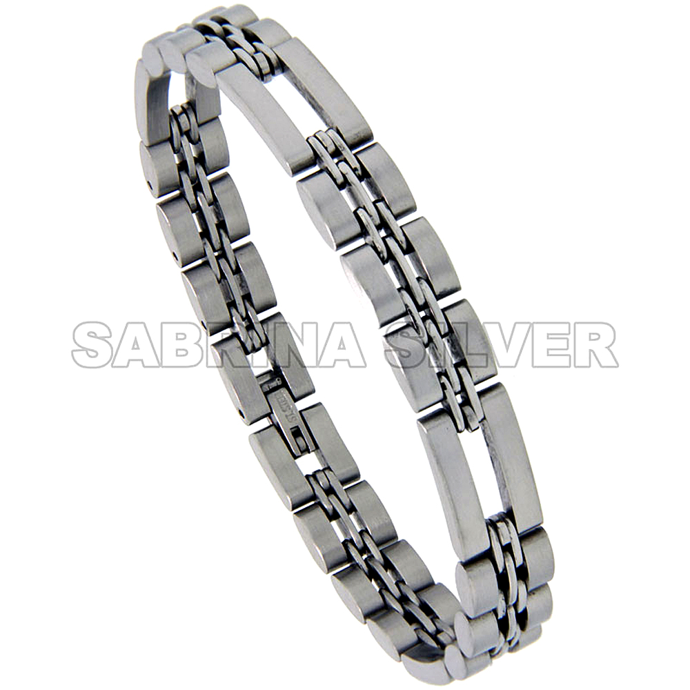 Stainless Steel Basket Link Bracelet for Women Satin Finish 3/8 inch wide, 8.5 inch long