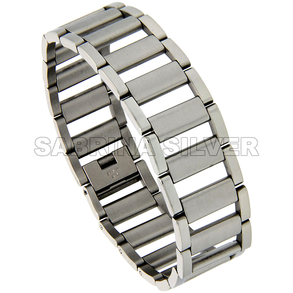 Stainless Steel Bracelet For Men & Women Open Bars 3/4 inch wide, removable links 8.25 inch