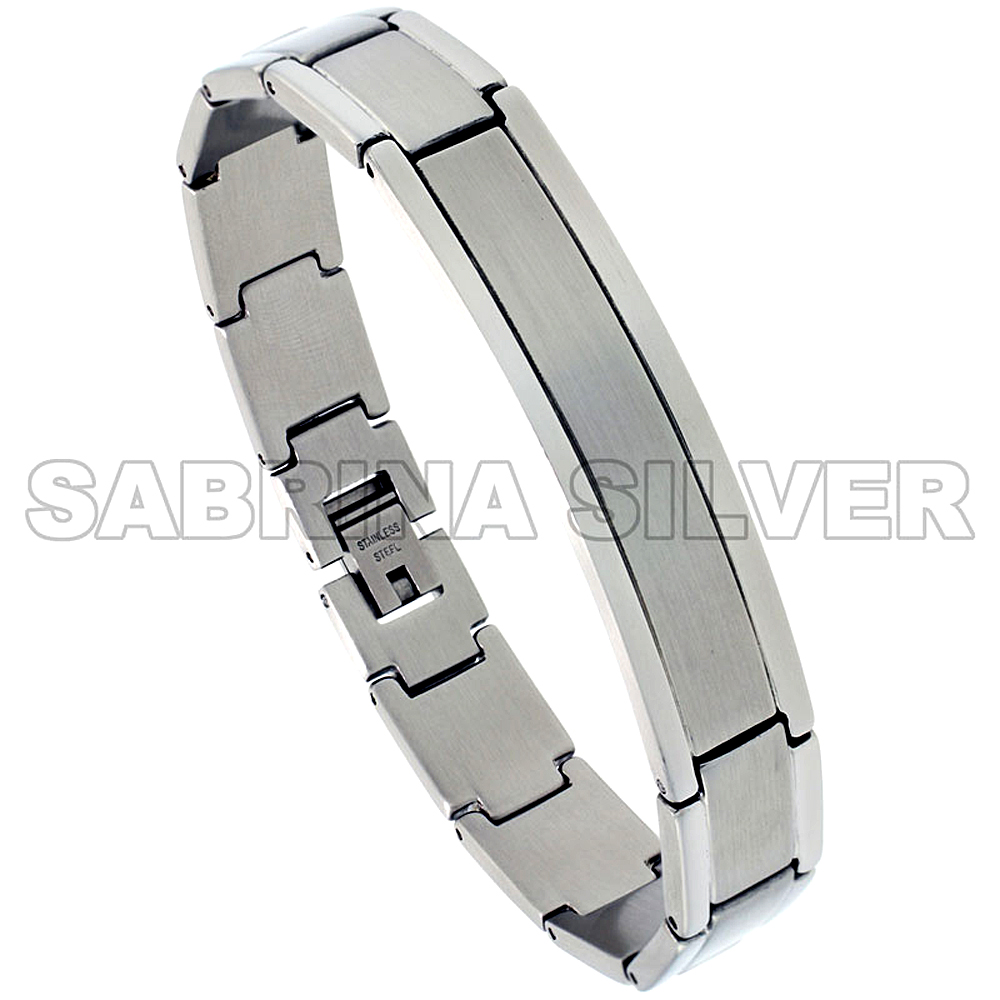 Stainless Steel ID Bracelet For Men Brushed Recessed Center 1/2 inch wide, 8 inch long