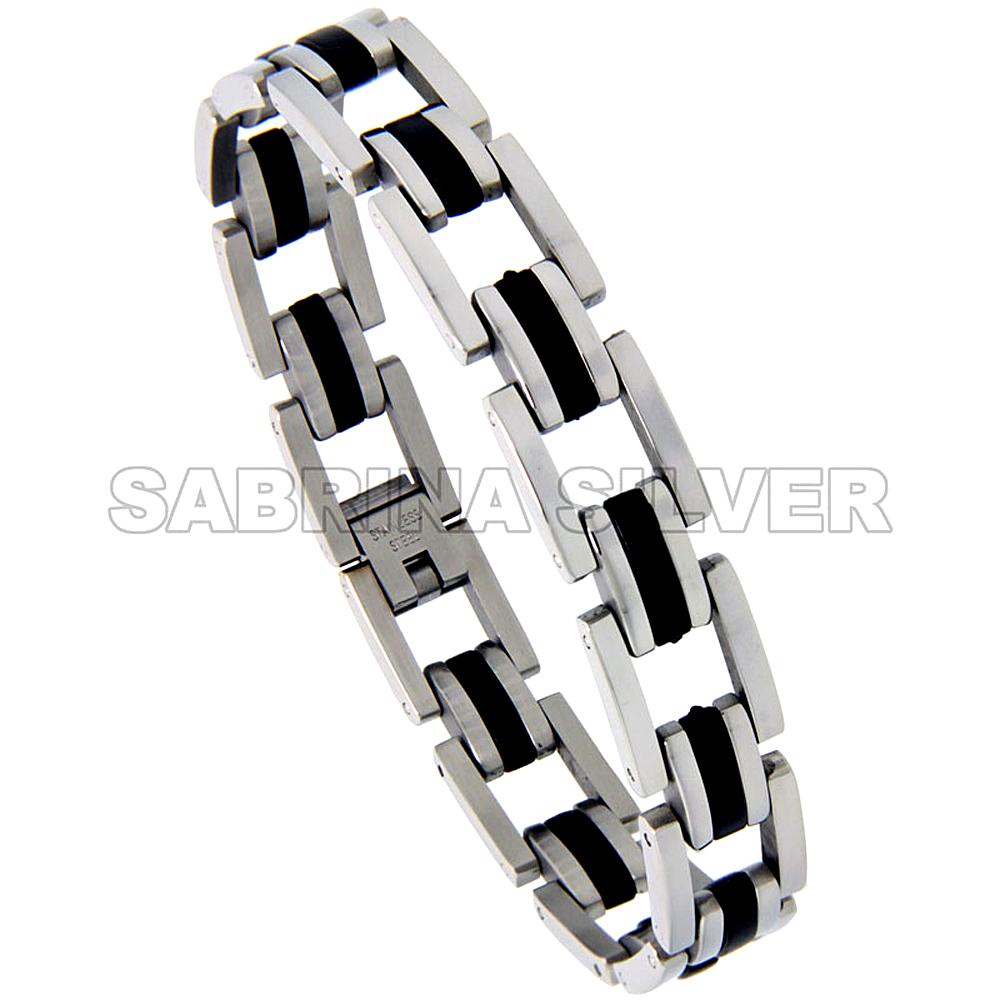 Stainless Steel Bracelet For Men Black Rubber Long & Short Bar Links 1/2 inch wide, 8.5 inch long