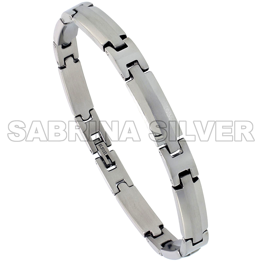 Stainless Steel Bracelet For Men Brushed Stripe Center 1/4 inch wide, 8.5 inch long