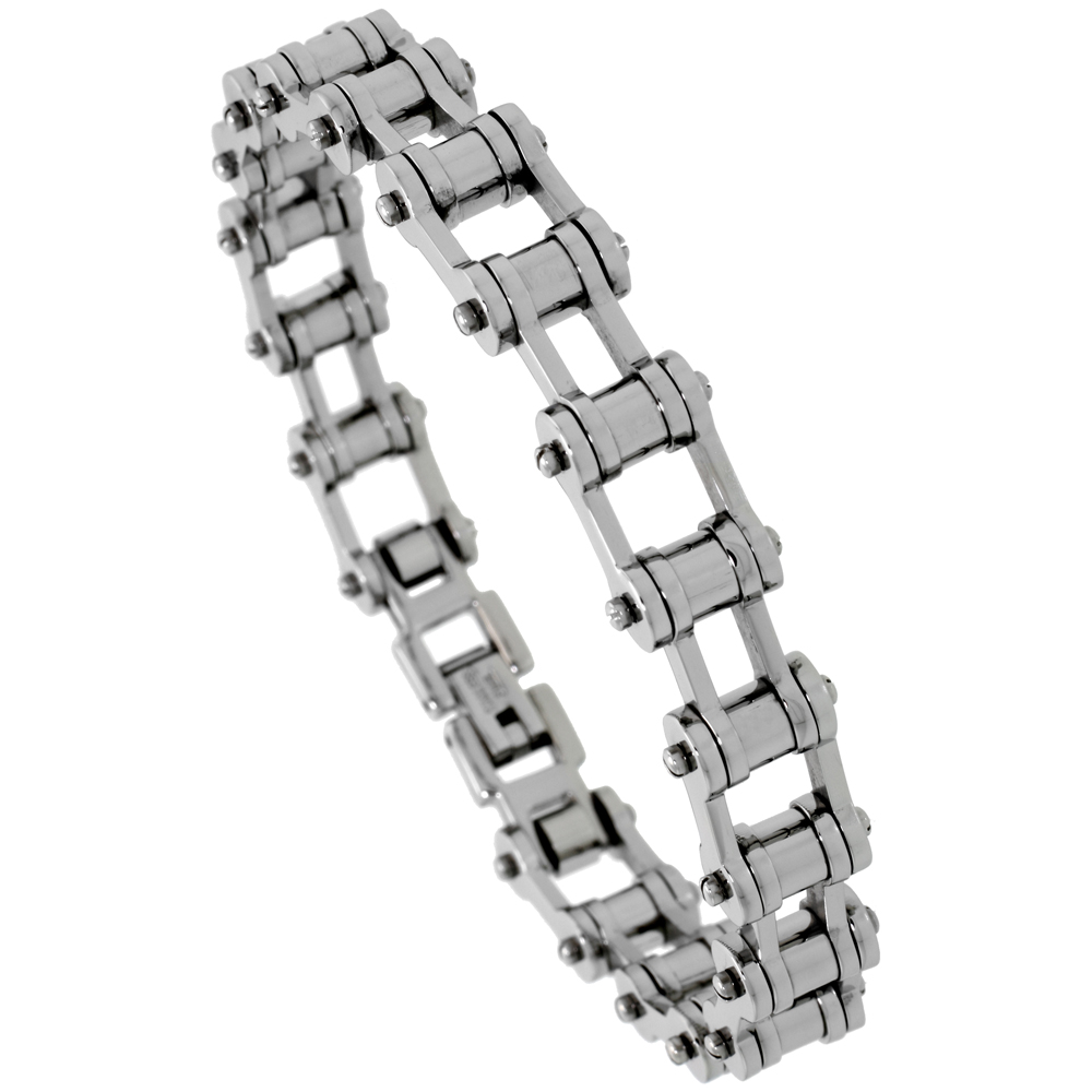 Stainless Steel Bicycle Chain Bracelet For Men 3/8 inch wide, sizes 8, 8.5 & 9
