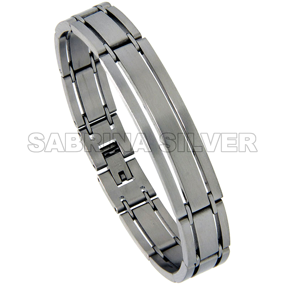 Stainless Steel ID Bracelet For Men Satin Finish 3-Row 1/2 inch wide, 7.75 inch