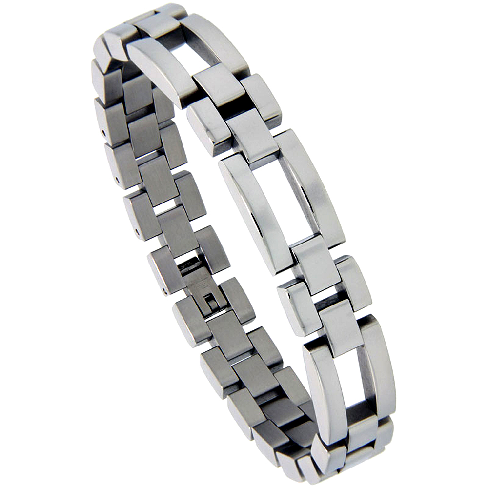 Stainless Steel Rolex Style Bracelet For Men Long and Short links 1/2 inch wide, 8.25 inch