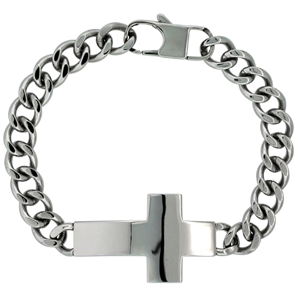 Surgical Steel Cross Bracelet For men 1 inch wide, 8.5 inch long