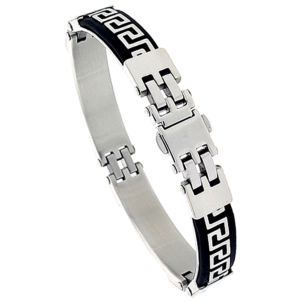 Stainless Steel Greek Key Bracelet For Men Black Rubber accent, 8 inch long
