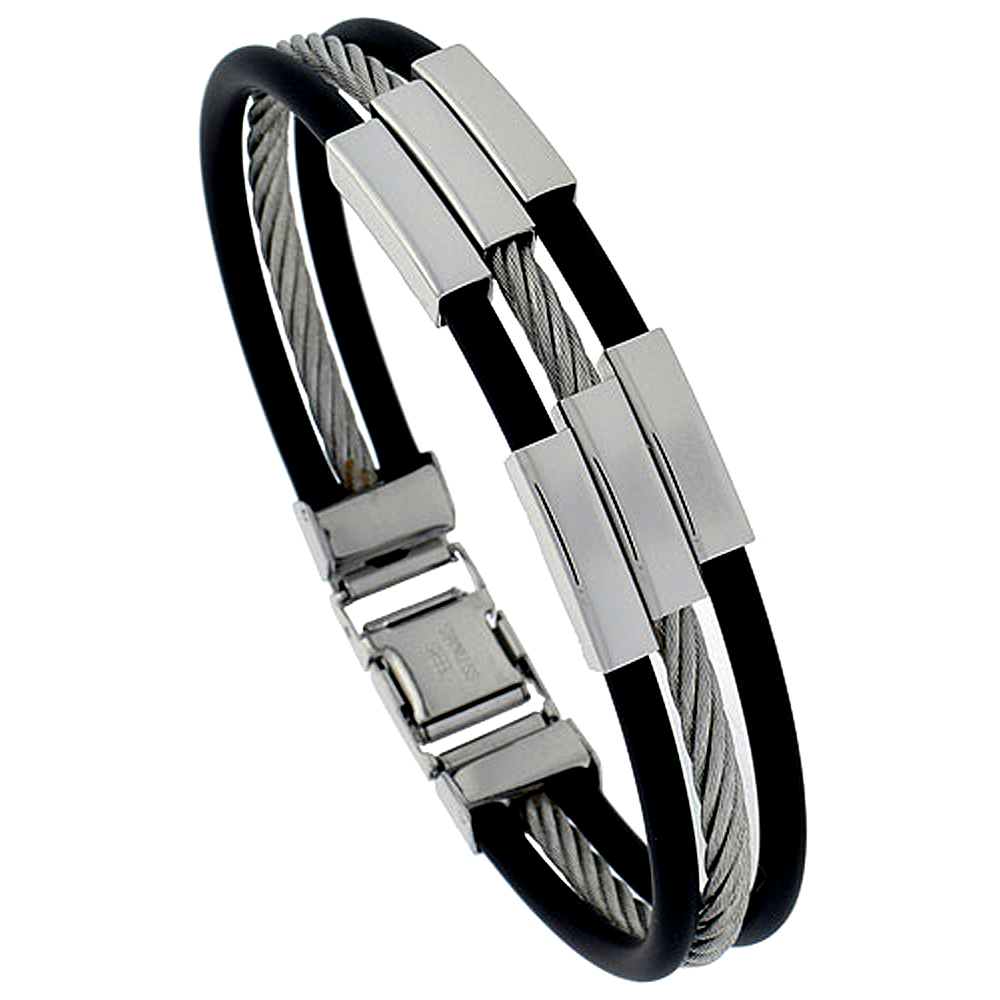 Stainless Steel Cable Bracelet For Men Black Rubber Accent, 8 inch long