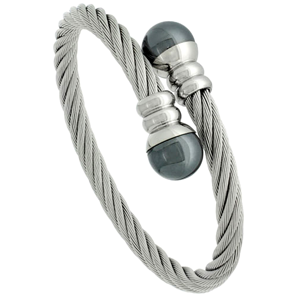 Stainless Steel Cable Bracelet For Men, 8 inch long