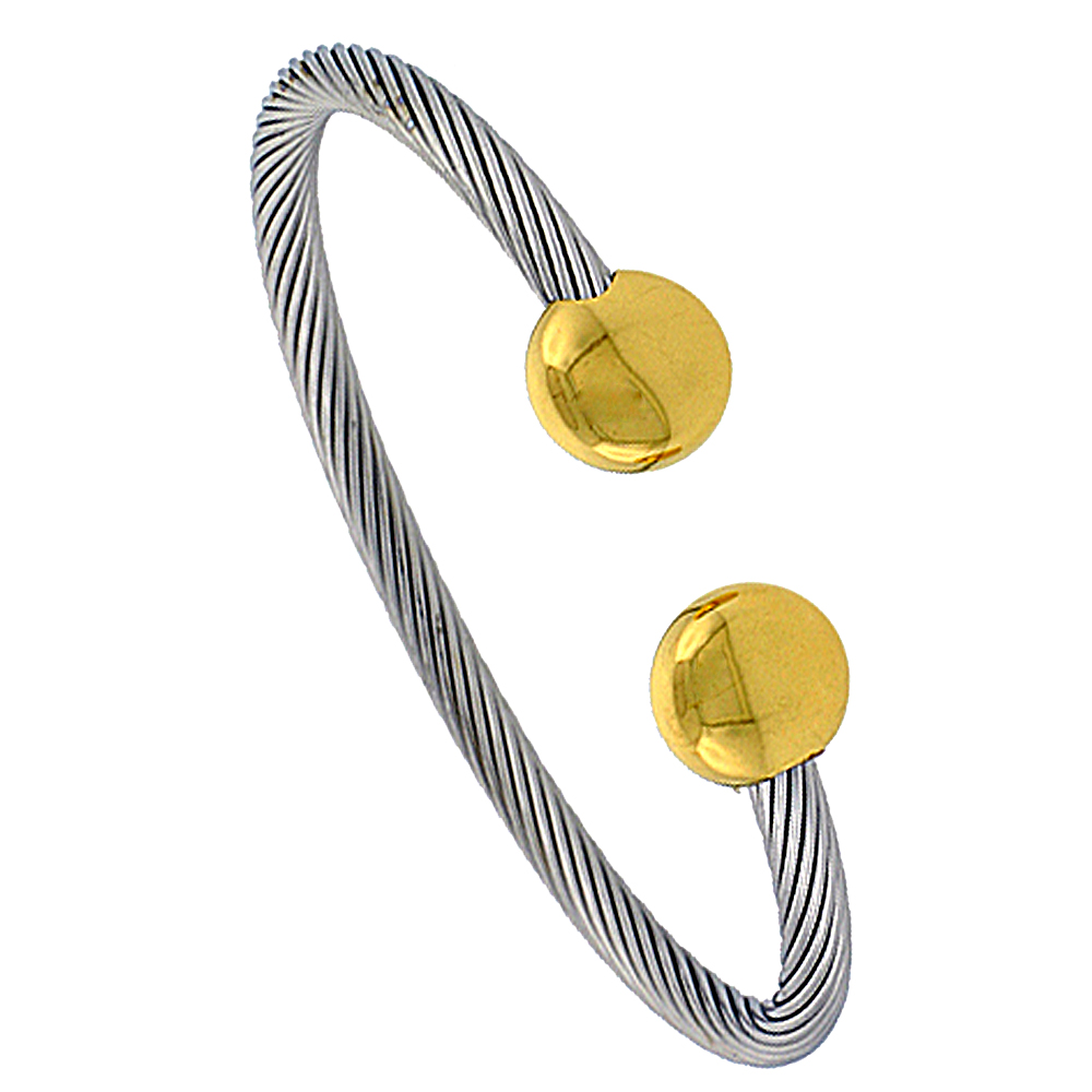 Stainless Steel Cable Golf Bracelet For Men with Magnets, 8 inch long