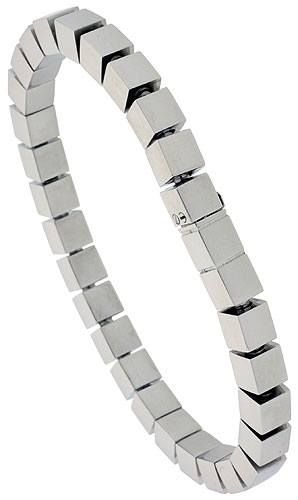 Stainless Steel Cubes Bracelet for Women 1/4 inch wide, 7.5 inch