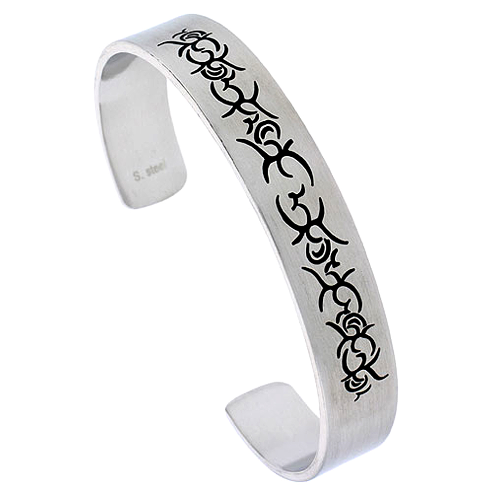 Stainless Steel Cuff Bracelet For Men with Tribal Design, 8 inch long